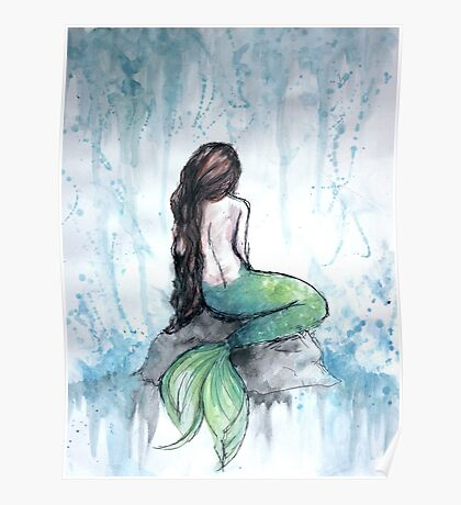 Mermaid Watercolor Painting Poster