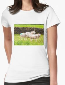 View of English grazing sheep in countryside Womens Fitted T-Shirt