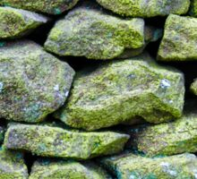 Closeup on a dry stone wall in yorkshire countryside, UK. Building materials pattern Sticker