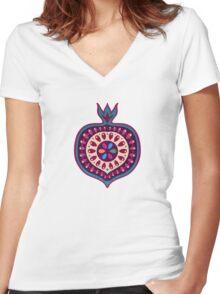 Pomegranate pattern Women's Fitted V-Neck T-Shirt