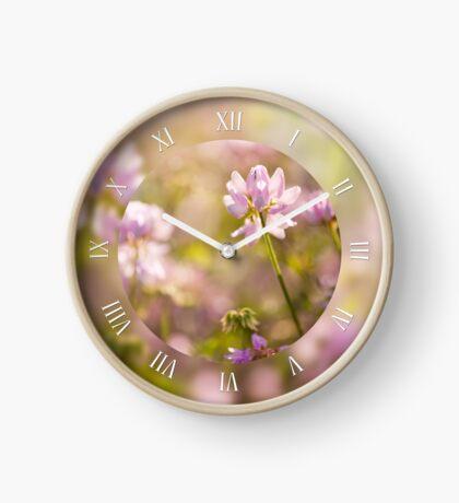 Wild pink Clovers macro Clock