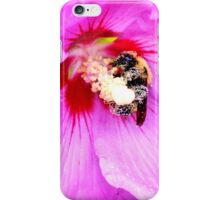 Bumble Bee Pollinating Pink Flower iPhone Case/Skin