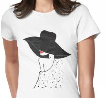 Black Hat lady Womens Fitted T-Shirt