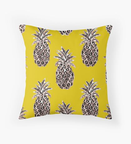 Gold Pineapples on Mustard Throw Pillow