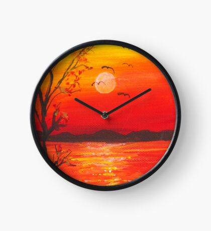Red and orange glowing sunset Clock