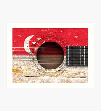 Old Acoustic Guitar with Singapore Flag Art Print