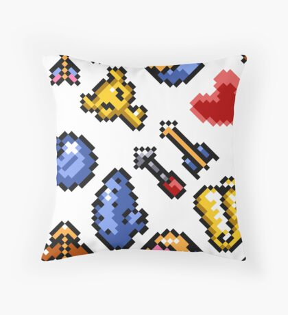 Legend of Zelda A Link to the Past (8 items pattern) white/transparent Throw Pillow
