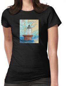 Solomons Lump Lighthouse MD Nautical Chart Peek Womens Fitted T-Shirt