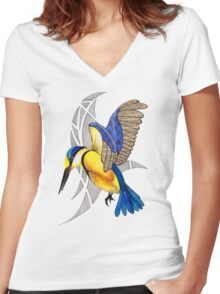Sacred Kingfisher in flight Women's Fitted V-Neck T-Shirt
