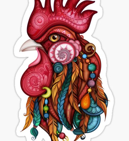 Tribal Rooster Design Sticker