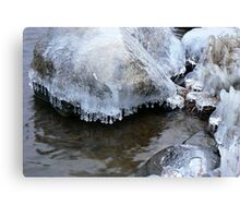 Ice covered rocks Canvas Print