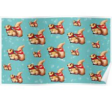 Cute Winter Squirrel in a Red Scarf Poster