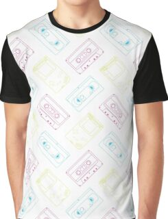Gameboy, Cassette, and VHS outline (white) Graphic T-Shirt