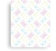 Gameboy, Cassette, and VHS outline (white) Canvas Print