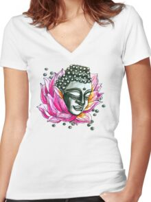 Lotus Buddha  Women's Fitted V-Neck T-Shirt