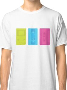 Gameboy, Cassette, and VHS Neon (white) Classic T-Shirt
