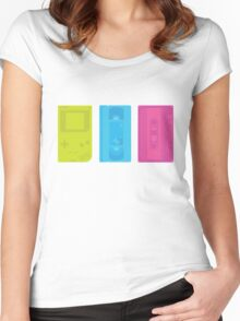 Gameboy, Cassette, and VHS Neon (white) Women's Fitted Scoop T-Shirt