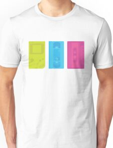 Gameboy, Cassette, and VHS Neon (black) Unisex T-Shirt