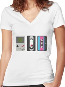 Gameboy, Cassette, and VHS Classic (white) Women's Fitted V-Neck T-Shirt