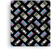 Gameboy, Cassette, and VHS Classic (black) Canvas Print