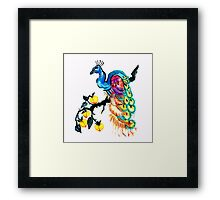 Peacock in a Peach Tree  Framed Print