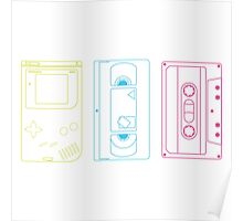Single Gameboy, Cassette, and VHS Outlines Poster