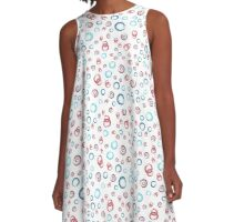 Seamless watercolor color abstract pattern A-Line Dress