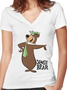 Yogi Bear - Bbo Bear - Cartoon Women's Fitted V-Neck T-Shirt