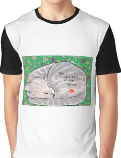 Curled-up Cat Graphic T-Shirt