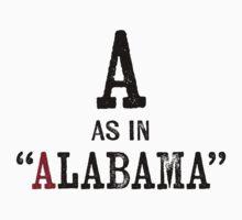Alabama T-shirt - Alphabet Letter One Piece - Short Sleeve
