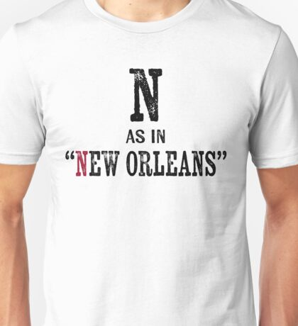 New Orleans LouisianaT-shirt - Alphabet Letter Unisex T-Shirt
