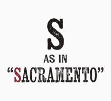 Sacramento CaliforniaT-shirt - Alphabet Letter One Piece - Short Sleeve