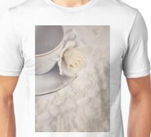 Cream Rose, Lace, and China Cup. Unisex T-Shirt