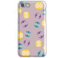 Spray Painted Floral Pattern on Polkadots with Light Mauve Background iPhone Case/Skin