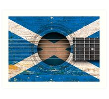 Old Acoustic Guitar with Scottish Flag Art Print