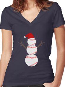 Baseball Snowman - Funny Christmas Women's Fitted V-Neck T-Shirt