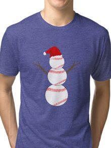 Baseball Snowman - Funny Christmas Tri-blend T-Shirt