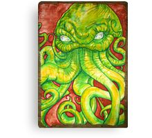 Cthulhu Painting on Wood Canvas Print