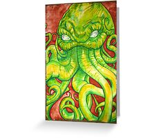 Cthulhu Painting on Wood Greeting Card