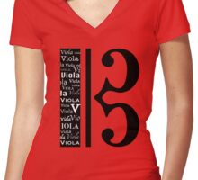 Wordy Clef Women's Fitted V-Neck T-Shirt