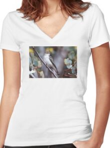 White-winged Triller Women's Fitted V-Neck T-Shirt