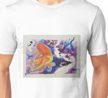 Red Great Pacific Octopus with Yellow Tentacles in a Purple Abstract Sea 2016 Unisex T-Shirt
