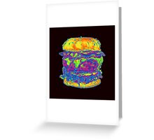 Neon Bacon Cheeseburger Greeting Card
