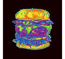 Neon Bacon Cheeseburger Photographic Print
