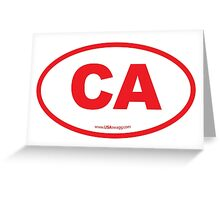 California CA  Euro Oval RED Greeting Card
