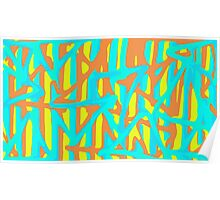 green blue orange yellow painting abstract background Poster