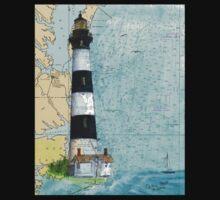 Bodie Island Lighthouse NC Chart Map Cathy Peek Kids Tee