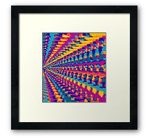 blue pink purple green orange yellow painting abstract background Framed Print