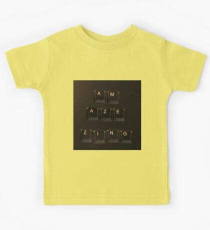 Keyboard lettering of AMAZING but not quite... Kids Tee