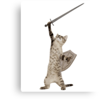Heroic Warrior Knight Cat Canvas Print